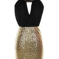 Colorblock Sequin Dress - Kely Clothing