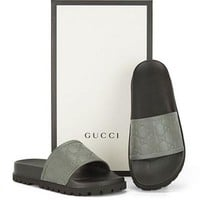 Gucci Trending Fashion men and women Stars Print Casual Sandal Slipper Shoes Grey G