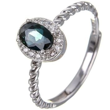 Sapphire ring Free shipping Natural and real blue sapphire 925 sterling silver 4*6mm