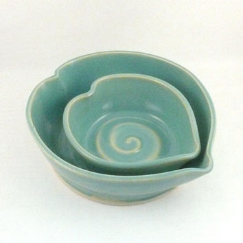Heart of my Heart Nesting Bowls - Two robin's egg blue heart-shaped dishes - IN STOCK - Valentine Keepsake