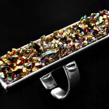 Speckled, Iridescent Bismuth Metal Crystal on an Adjustable Silver Plated Ring, Fractal, Artistic Jewelry