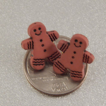 Gingerbread Man Post Earrings, stocking stuffer, fun jewelry gift for winter birthday, party attire - gingerbread studs, secret santa party