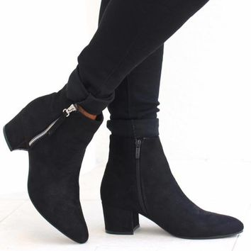 Suede Zip Up Side Ankle Bootie