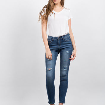 High Waisted Destroyed Jeans - 9
