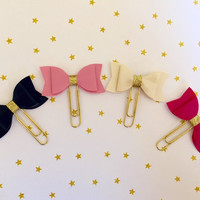 Glitter Faux Leather Bow Paperclip, Pretty Bow Planner Clip, Cute Bookmark, Filofax, kikki.K, Fauxdori Accessory
