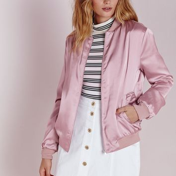 SATIN BOMBER JACKET MAUVE
