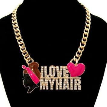 "Bling Rhinestone ""I LOVE MY HAIR"" AFRO PUFF Statement Gold Necklace Link Chain"