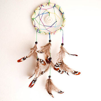 Dream Catcher - Rainbow Spiral - With Unique Spiral Koru Bone Amulet and Natural Brown Feathers  - Home Decor, Nursery Mobile