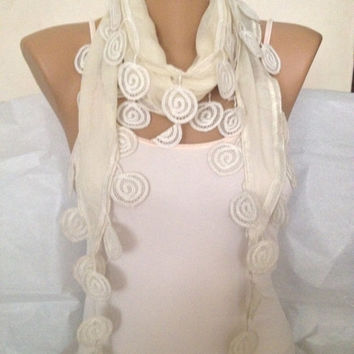 Cream Scarf - Cream Lace Scarf - Wedding Bridesmaid Scarf Accessorie - Circle Lace - Shawl Scarf