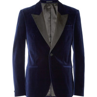 Alexander McQueen Navy Velvet Slim-Fit Tuxedo Jacket | MR PORTER