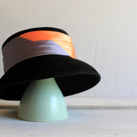 mid-century Merrimac Deluxe Velour women's hat : black orange gray bowler
