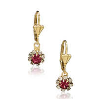Gold Plated 18k CZ Pink Crystal Flower Leverback Special Occasion Earrings Drop