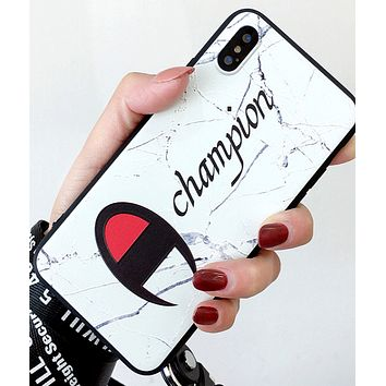 Champion popular logo iphoneX mobile phone case couple silicone anti-drop iphone7plus creative soft 6 men and women 8 hang rope