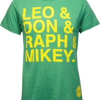 TMNT Names Men's Heathered Kelly Green Tee