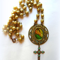 Antique style religious necklace,Madonna and child, vintage glass pearls, shabby distressed