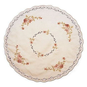 Embroidered Burgundy Rose Round Table Linen