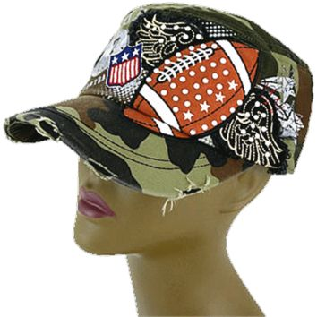 Rhinestone Football W Wings Hat