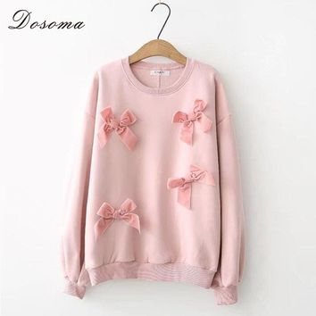 Sweet Bow Swearshirt Women Casual Thick Velvet Underwear Patchwork Outfit Tops Pink Camisa Sweatshirts Winter