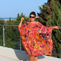 XXXL Plus size oversized multicolored caftan dress/cover up dress / party dress / sundress/ everyday dress/flower power dress