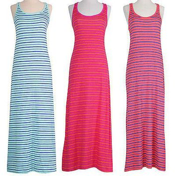 Striped Racerback Sleeveless Tank Summer Beach Maxi Long Full Length Sun Dress