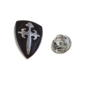 Black Medieval Shield Pendant Lapel Pin