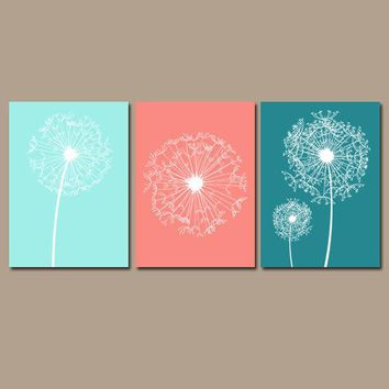 DANDELION Wall Art, Coral Aqua Teal, Dandelion Decor, Bedroom Pictures, CANVAS or Prints, Bathroom Decor, Dorm Room Decor, Set of 3 Pictures