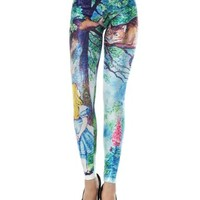 PrettyGuide Women Women Cheshire Cat in Tree Alice's Adventures in Wonderland Print Tight Leggings Pants