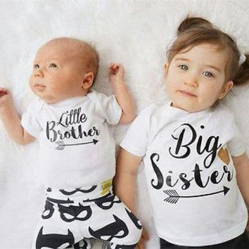 New Brand Family Matching Outfits Baby Boys Romper Little Boy Bodysuit Big Sister T-shirt Summer Kid clothing ,white 3M-6T (not a set)