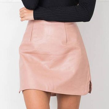ICIKL3Z 2016 New Arrival OL PU Leather Skirts High Waist Sexy Vintage A-Line Office Skirts Womens Solid Mini Bodycon Skirt Plus Size