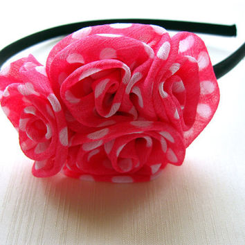 Pink Spotted Roses Headband