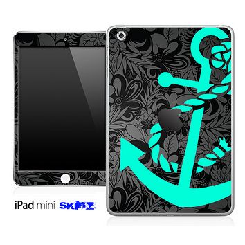 Black Paisley Floral and Trendy Green Anchor Skin for the iPad Mini or Other iPad Versions