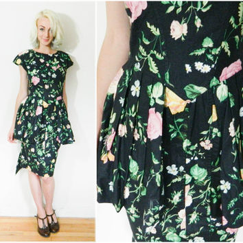 80s vintage Karen Alexander backless dress / Peplum 90s black floral cap sleeve punk size small cocktail / medium s m