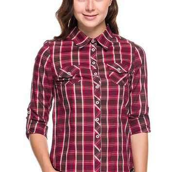 Plaid & Check Print 3/4 Roll Up Sleeve Button Down Blouse Top