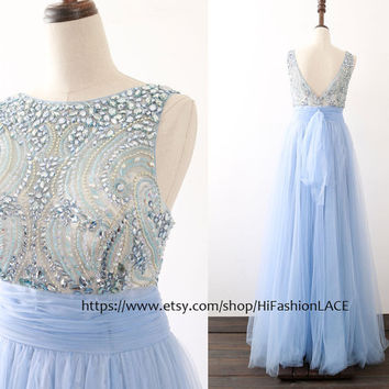 Romantic Prom Dress, A Line Straps Sky Blue Tulle Prom Gown with Crystals, Floor Length Formal Dresses, Wedding Bridesmaid Dress