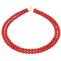 Red Necklace-Double Strand Red Beaded Necklace- Classic Red Jewelry