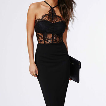 Black Halter Lace Inserted Sheer Fitted Midi Dress sexy women summer elegant bodycon party dress LC60445 vestidos de festa