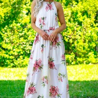 Pleated High Neck Maxi Blush