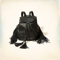 Faux Leather Fringe Mini Backpack