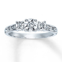 Diamond Promise Ring 1/10 ct tw Round-cut Sterling Silver