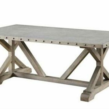Wildon collection rustic industrial style driftwood finish wood coffee table with galvanized top