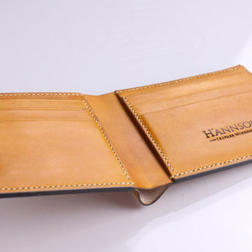 Handmade Bi-fold Leather Wallet No.1 - Hand Stitched and Dyed Saddle Tan- Full grain Veg-Tan