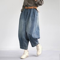 Johnature Women Denim Pants Blue Pockets Vintage Trouser 2019 Spring New Button Fly Wide Leg Pants For Women Clothing Jeans
