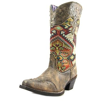 Laredo Womens Tan Mya Leather Cowboy Boots Studded Southwestern