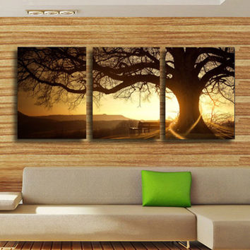 3 Panel Modern Printed Tree Painting Picture Cuadros Sunset Canvas Painting Wall Art Home Decor For Living Room No Frame PR157