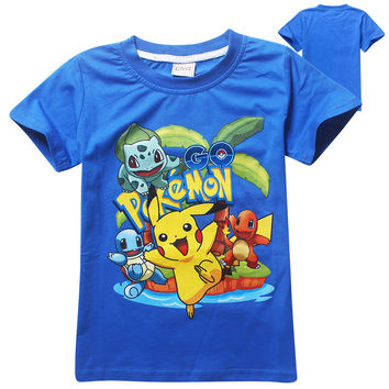 Pokemon Go Baby Boys T-shirt 2016 Summer fashion New Cartoon Children Tops Teen Clothing For Boys Baby Clothing kids tees