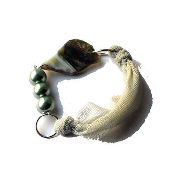 Fabric bracelet  White bangle with green beads beads and agate for her - one of a kind - OOAK