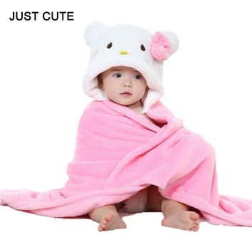 Cute Hello Kitty Baby Blanket Newborn Baby Wrap Swaddling Animals Duck Panda Rabbit Frog Photography Blanket Winter Warm Quilt