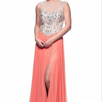 Kari Chang KC20 Orange Melon Jeweled Prom Dress