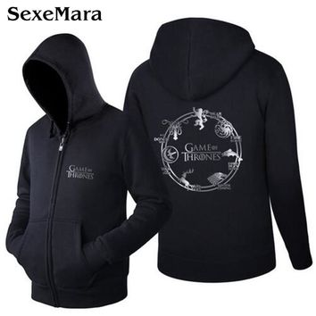 Trendy Fashion Casual Hoodies Coat Classic Black Sweatshirt Jacket Game of Thrones Logo Hooded Coat Exercise Cardigan