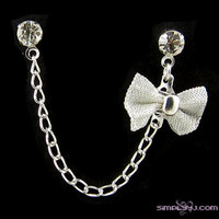 Rhinestone Silver Bow Cartilage Double Piercing by simplyyj